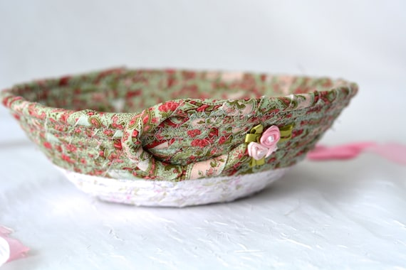 Shabby Chic Basket, Handmade Candy Dish Bowl, Shabby Chic Key Basket, Ring Dish Bowl, Green Desk Accessory, Green Floral Easter Basket
