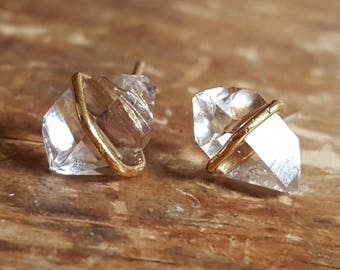 Herkimer Diamond Stud Earrings Raw Crystal Earrings Girlfriend Gift Wife Herkimer Diamond Earrings Herkimer Diamond Studs Gold Stud Earring