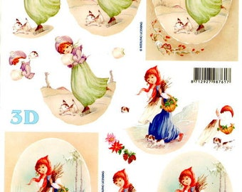 09 - 1 sheet of 3d Images cutting girl in winter