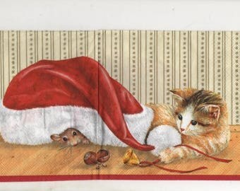 3315 set 5 cat and hat Christmas paper napkins