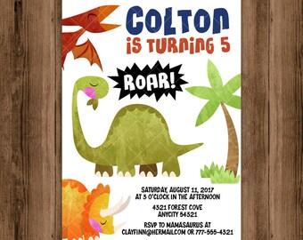 Dinosaur Birthday Party Invitation, Cute Dinosaurs Diplodocus Triceratops Pterodactyl Birthday Invitation, Dinosaur Party Printable
