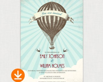 UP UP and Away - Hot Air Balloon I Wedding Invitation template I Vintage Style Invitation - DIY printable file
