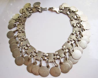 Silver Coin Necklace, Mapuche Choker, Native American Jewelry, Tribal Headband