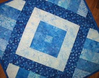 Sale Christmas in July Batik Table Topper, Blues, Wall Hanging, handmade, quilted, Center Piece, Candle Mat