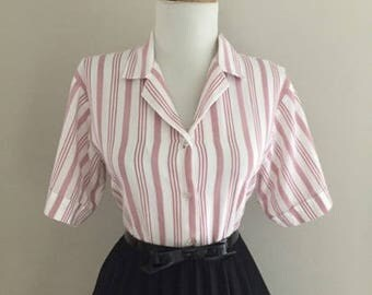 Vintage 1950s Style Blouse + Pink & White Striped Short Sleeve Shirt + Button Down Blouse Top + Mad Men Pin Up Shirt
