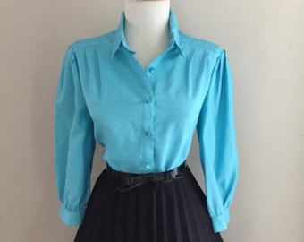 Vintage 1960s Blouse | 60s Button Down Shirt | 60s Secretary Blouse |Turquoise Blue  / Mad Men Shirt | Pin Up Style