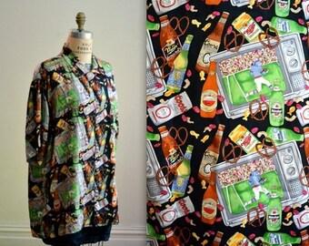 SALE 90s Vintage Football Shirt Print Nicole Miller Silk Shirt Size Large XL Mens football shirt silk Super Bowl