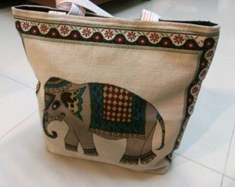 Beautiful Elephant Handbag, Extra Large Canvas Tote Bag, Shoulder Bag, Beach Bag