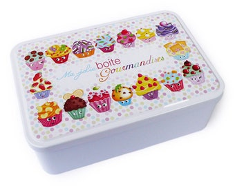"White background and colorful, decorative rectangular metal biscuits ""sweet treats box"" box, storage"
