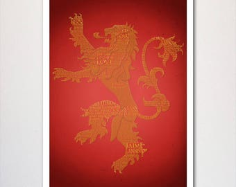 Game of Thrones Lannister Typography Poster