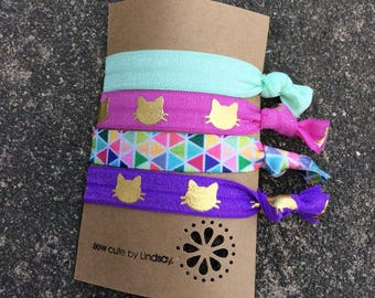 Knotted elastic hair ties - Foldover Elastic - mint green, pink with gold cats, rainbow triangles  and purple cats with gold