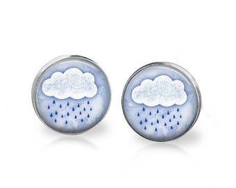 ON SALE Rain Cloud Earrings Rain Drops Rainy Day Art Jewelry Hypoallergenic Surgical Steel Studs