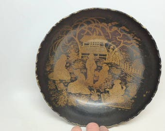 Vintage Chinese Lacquer Bowl - Chinese Bowl - Black Lacquer Bowl