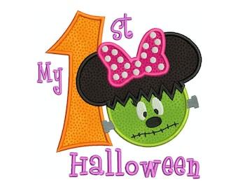 My First Minnie Monster HALLOWEEN Machine Applique Embroidery - Instant Digital Download
