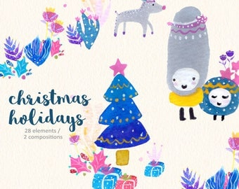 Christmas Clipart, Watercolor, Seasons Greetings, Festive Holiday, Xmas, Cute Christmas Clipart, Colorful, Creatures, Patterns
