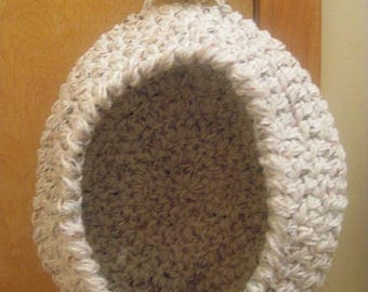 Door Knob Basket, Hanging Storage Sack, Cream Fleck, Hanging Organizer, Door Knob Organizer, Crochet Decor, Crochet Basket, Modern Decor