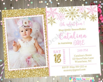 winter onederland invitation invite snowflake pink and gold 1st birthday 2nd birthday winter wonderland photo picture party printable DIY