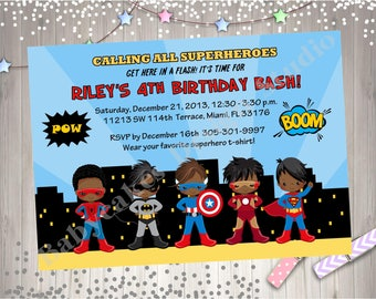 Superhero Birthday Party Invitation invite African American Superhero Birthday Invitation Invite