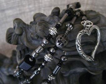 Antique Silver Hematite Black Open Heart Wrap Memory Wire Bracelet