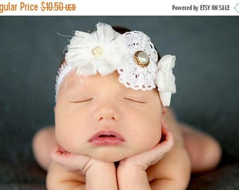 12% off Newborn Headbands Baby Headband adult headband lace bow headband christening headband photo prop teen headband headband baby Baby bo