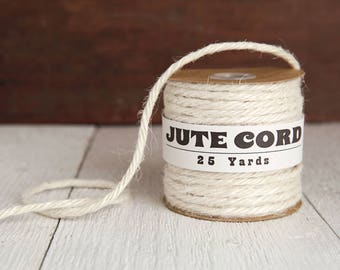 Macrame Cord - 5 Ply Jute, Ivory Cream Rope, 25 Yards
