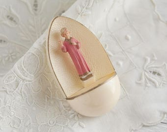 Vintage Holy Water Font - Miniature Hard Plastic Religious Wall Decoration