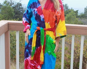 Tie Dye Bath Robe One Size Upcycled
