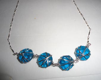 Blue Silver Wire Wrapped Necklace