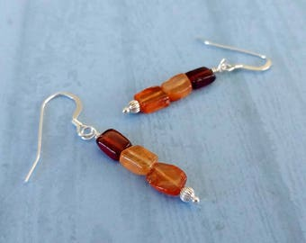 Multi Gemstones Earrings With Antiqued Gold Plated Brass Accents . Coral, Citrine, Tourmaline, Black Agate, Red Agate