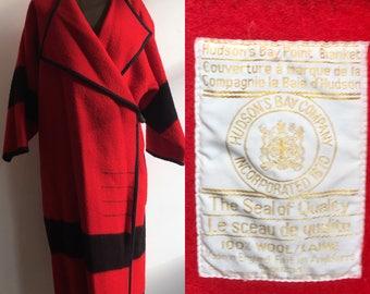 Red Wool Hudson Bay Point Blanket Coat