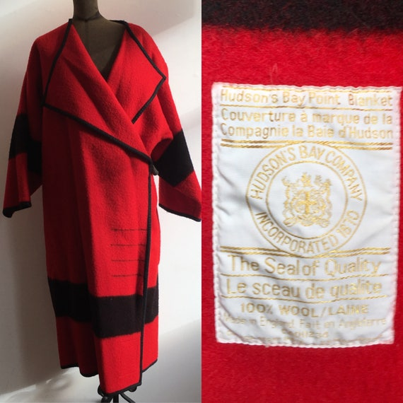 Red Wool Hudson Bay Point Blanket Coat