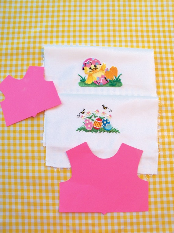 2 Embroidered Easter Spring Panels for Making Doll Clothes / Make 18 Inch Doll Clothes for American Girl Doll