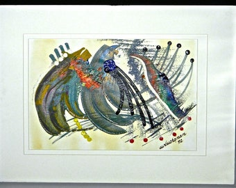 Vintage Impasto Abstract Acrylic on Paper 'EXOTIC BIRD' by C.W. Buchanan, 1992