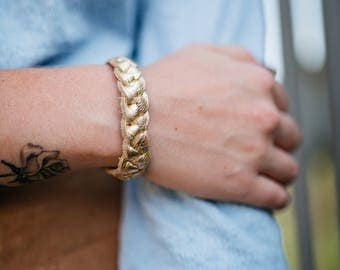 Braided leather bracelet - Gold