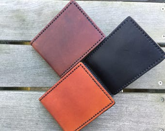 Leather Bifold Wallet - Handmade Leather Wallet - Mens Wallet - Gift for Husband - Gift for Dad - Mens Leather Wallet