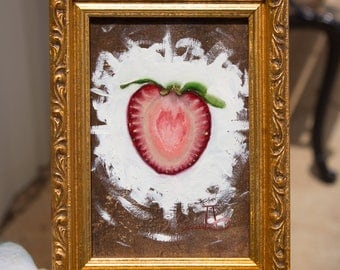 """Strawberry - Original Oil Painting - 5"""" x 3.5"""" - Oil-on-Panel"""