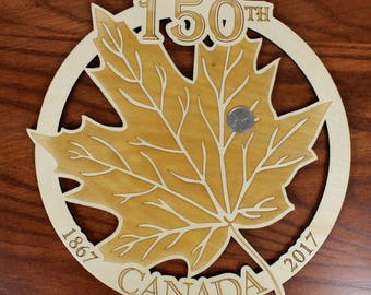 Celebrate Canada's 150th Birthday, Wall Art, Warm Pot Trivet, Canada 150 Sugar Maple Leaf, Laser Engraved, Paul Szewc, Masterpiece Laser