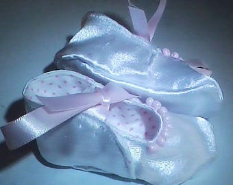 White Satin with Pink Girls' Tie-Ons