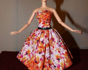 Colorful water color print strapless party dress for Fashion Dolls - ed1020