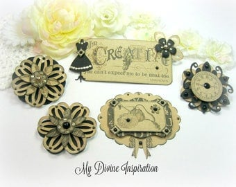 Graphic 45 Kraft Reflections Handmade Paper Embellishments and Paper Flowers for Scrapbooking Cards Mini Albums Tags and Papercrafts
