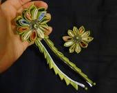 RESERVE pour Nolwenn, set accessoire cheveux fleurs tsumami
