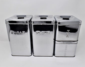 Vintage Lincoln Beautyware  canister set sugar flour coffee tea mid-century 1950's kitchen metal