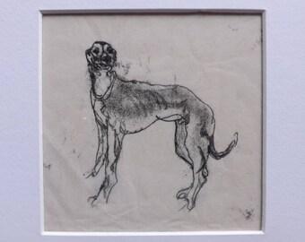"""Greyhound - """"Hound Dog"""" - Original Monoprint - OOAK"""