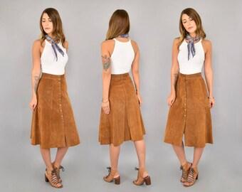 70's Suede Midi Skirt