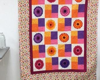 Handmade Quilt, Lap Quilt, Handmade Lap Quilt, PatchworkFlowers, Quilt - C
