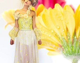 MEMORIAL SALE Handmade Floral Embroidered Chifon Yellow Dress, Balloon ARM Cuffs, Off Shoulder, Redesigned clothing by Tatiana Andrade for T