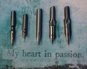 10 Pen Nibs Vintage 2 of each style, Esterbrook, Leonardt, Geo W Hughes, Presbitro, Penna Signorina, Calligraphy Pens