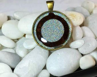 A Perfect Circle With Silver Sparkling Holographic Silver Enamel Hand Layered Circle of Metal Upcycled Reclaimed Treasures Resin Pendant