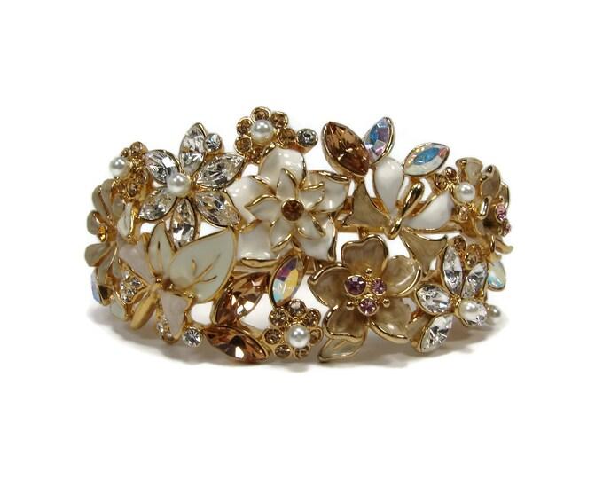 Rhinestone & Enamel Flower Hinged Bracelet