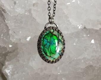 Opal Necklace, Sterling Silver Necklace, Gemstone Necklace, Sparkle Necklace, Monarch Opal, Cultured Opal Necklace, Everyday Necklace